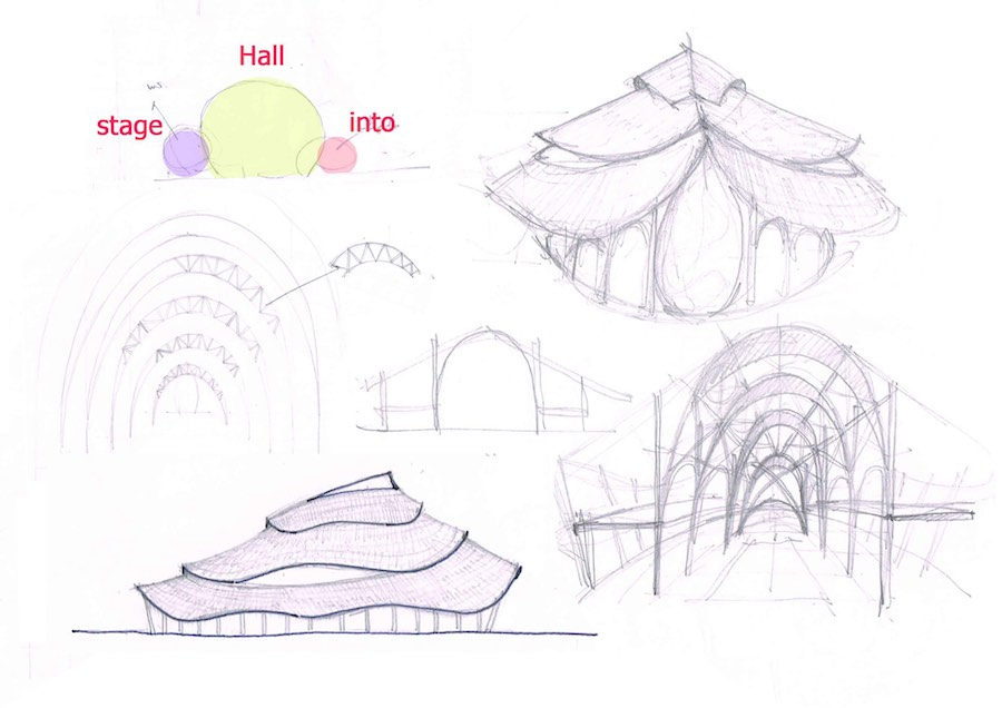 Bamboo Sports Hall @ Panyaden School - Sketch by Chiangmai Life Architect.