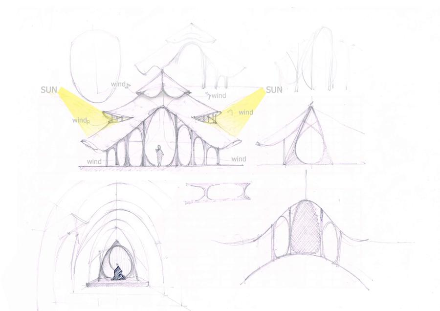 Bamboo Sports Hall @ Panyaden School - Sketch by Chiangmai Life Architect.