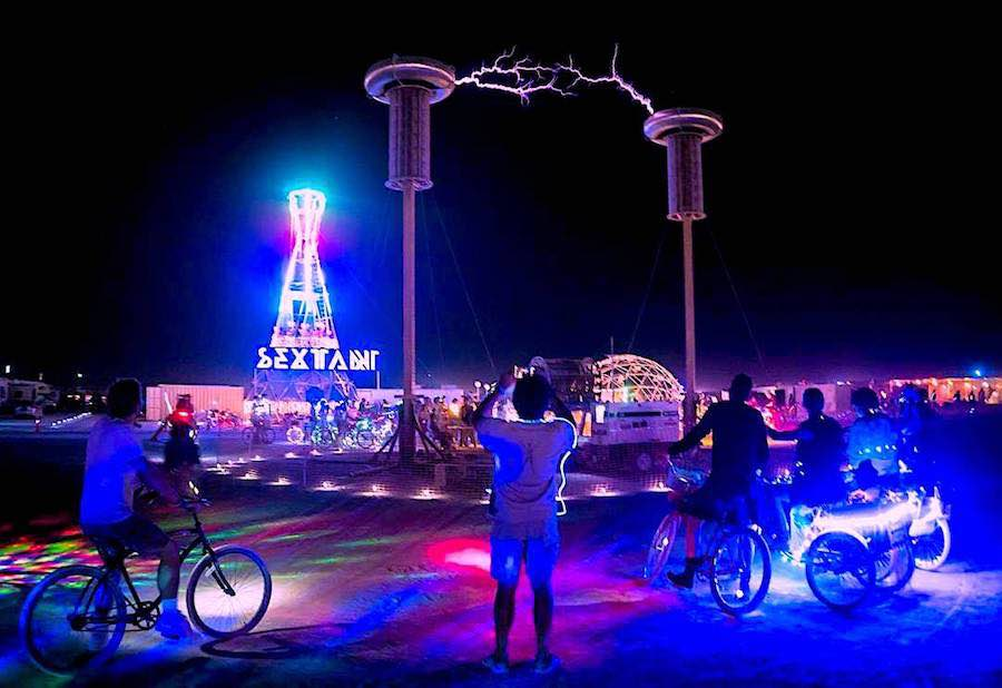 Burning Man 2017 - Tesla coils @ Sextant theme camp - Photo by Curtis Simmons CC