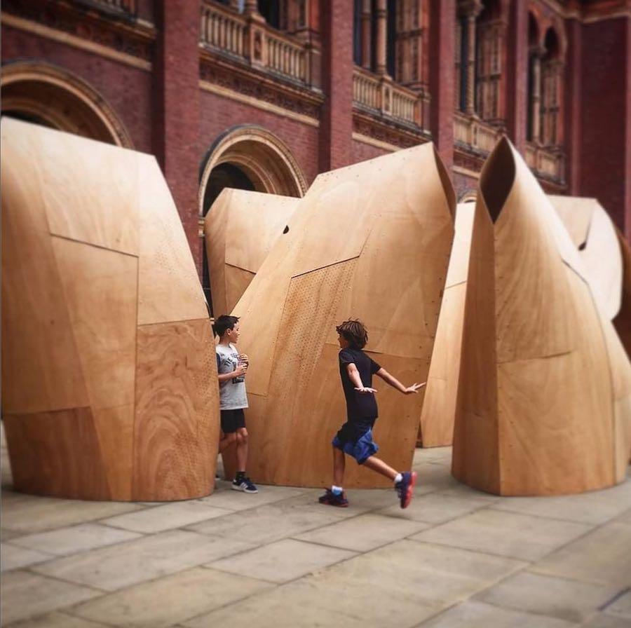 Plywood installation by Paktau Architects - Photo by @paktauarchitects IG