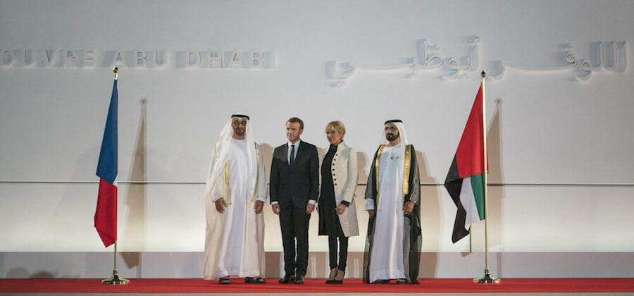Inauguration of Louvre Abu Dhabi – From left: HH Sheikh Mohamed bin Zayed Al Nahyan Crown Prince  of UAE, French President Emmanuel Macron with premiere dame Brigitte Macron and HH Sheikh Mohamed bin Rashid Al Maktoum, Vice-President, Prime Minister of the UAE.