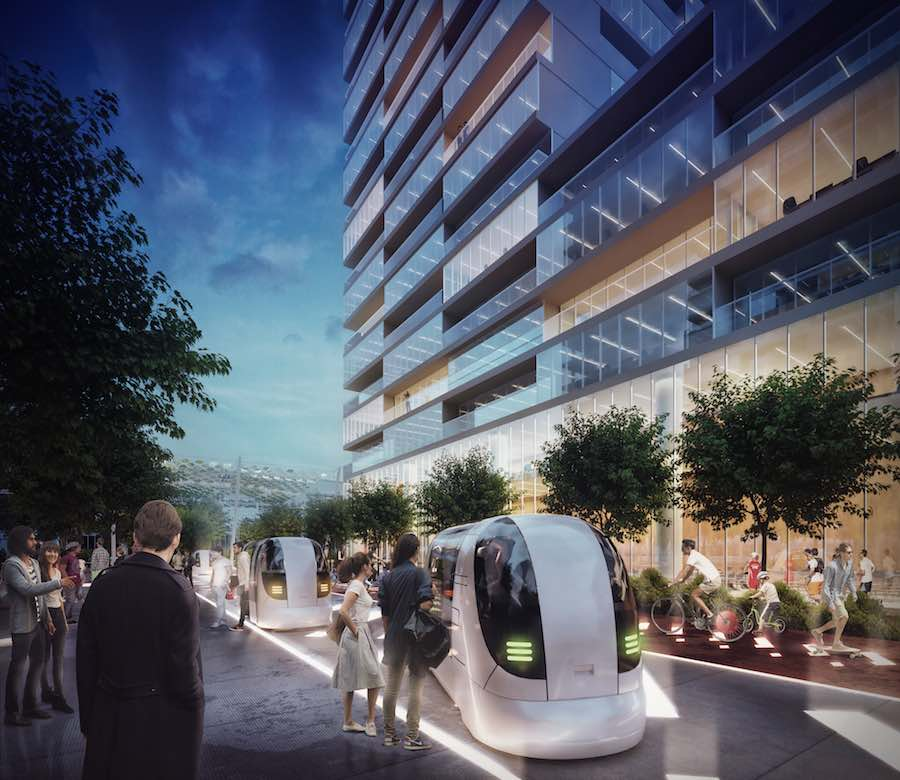 Self-driving cars on the Decumano - Carlo Ratti's masterplan for Milan's World Expo site - Image by Carlo Ratti Associati.