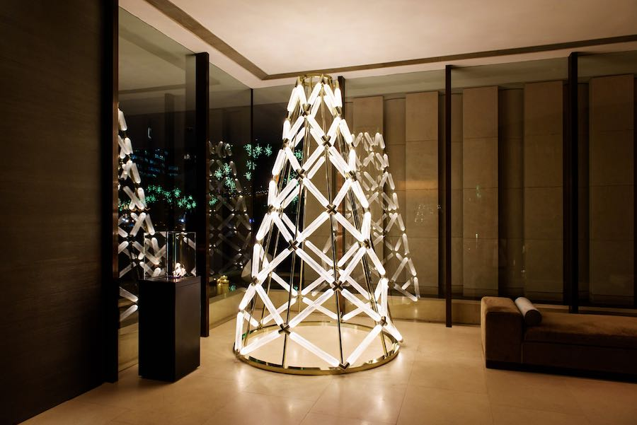 The Upper House Christmas tree 2017 by Yabu Pushelberg x LASVIT