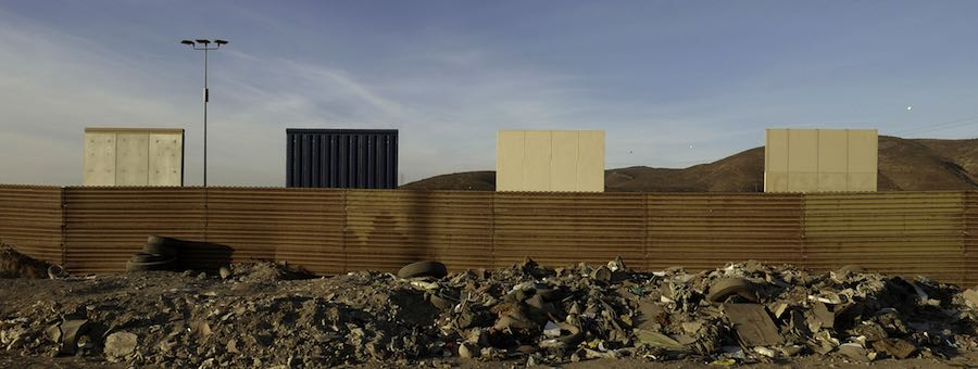 Trump US-Mexico border wall prototypes. Photo: courtesy of MAGA.