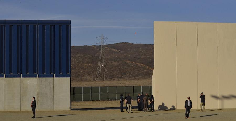 Trump US-Mexico border wall prototypes. Photo: courtesy of MAGA.