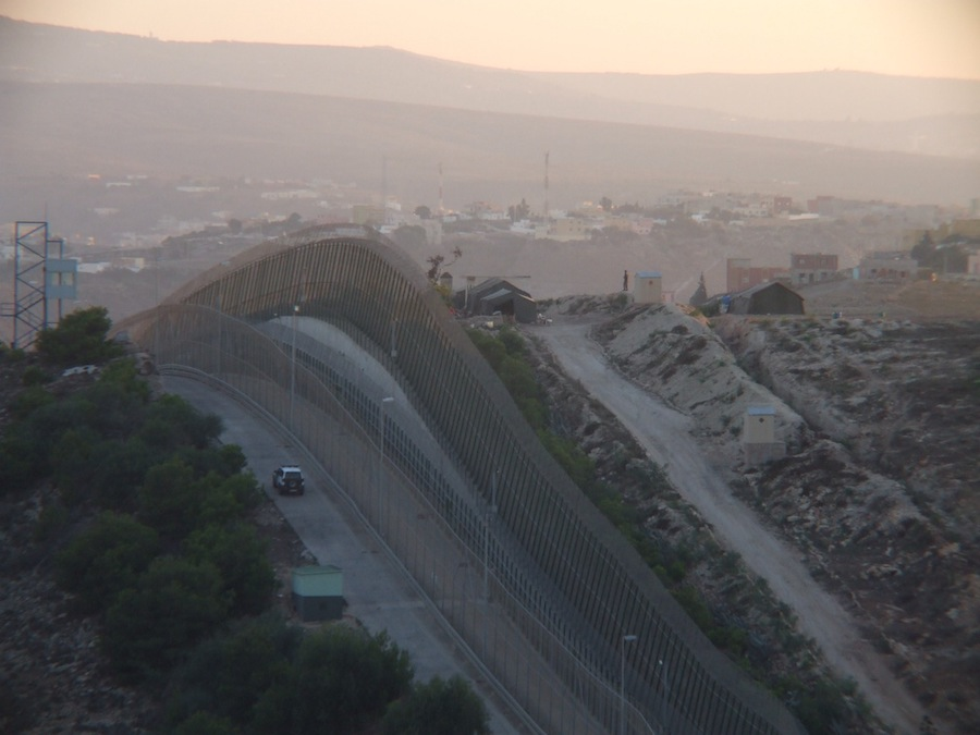 Border Walls - View of Spanish-Moroccoan fence in Melilla