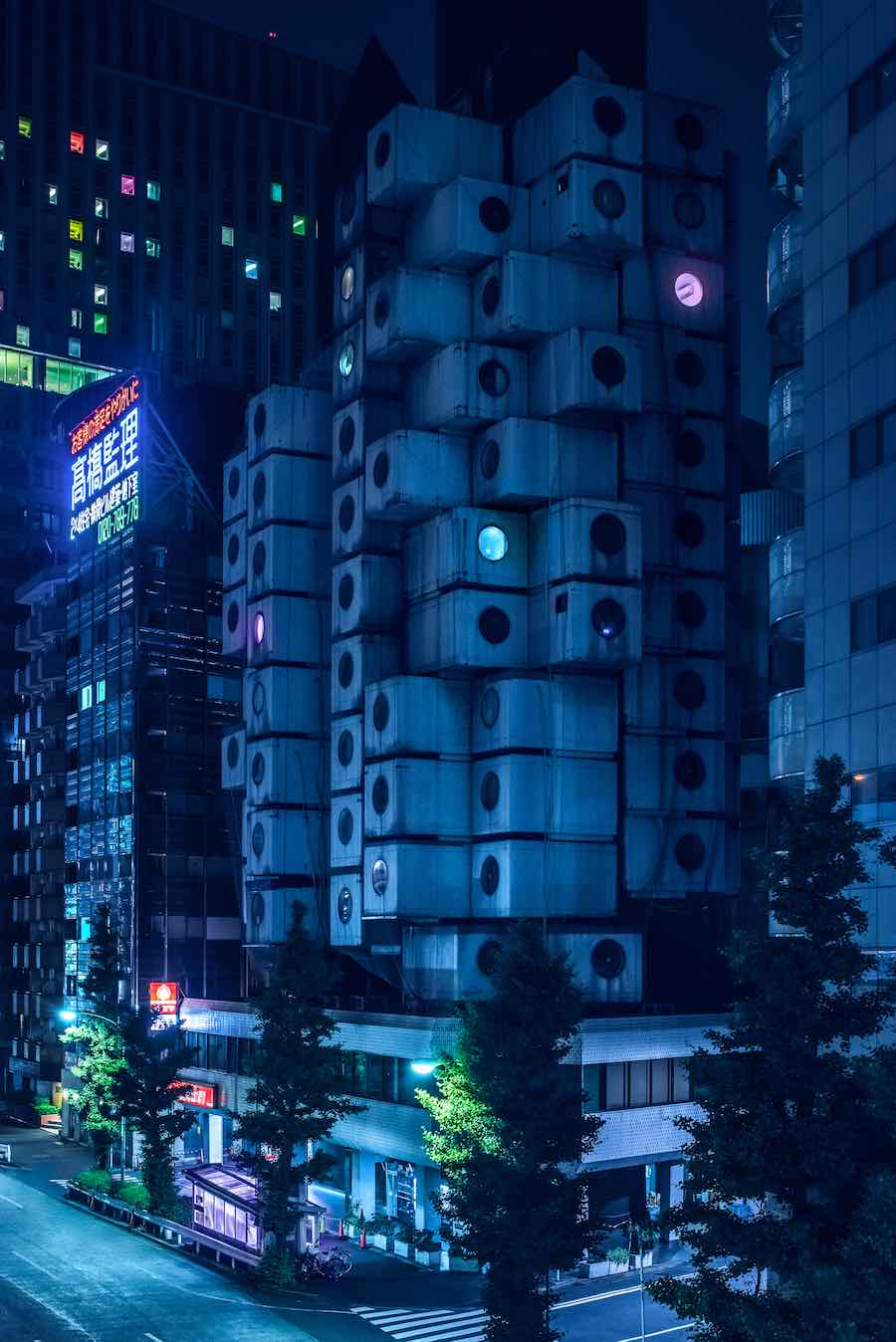 Nagakin Capsule Tower. Tokyo Blade Runner-style nightscapes - Photo by Tom Blachford