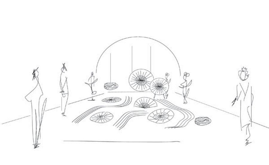 Denis Guidone's origami garden @ Ventura Centrale - Sketch by Karesansui.