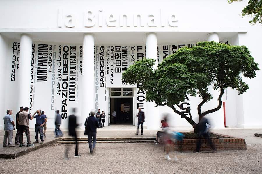 Entrance of the FREESPACE exhibition at the Central Pavilion at Giardini - Photo: courtesy of La Biennale di Venezia.