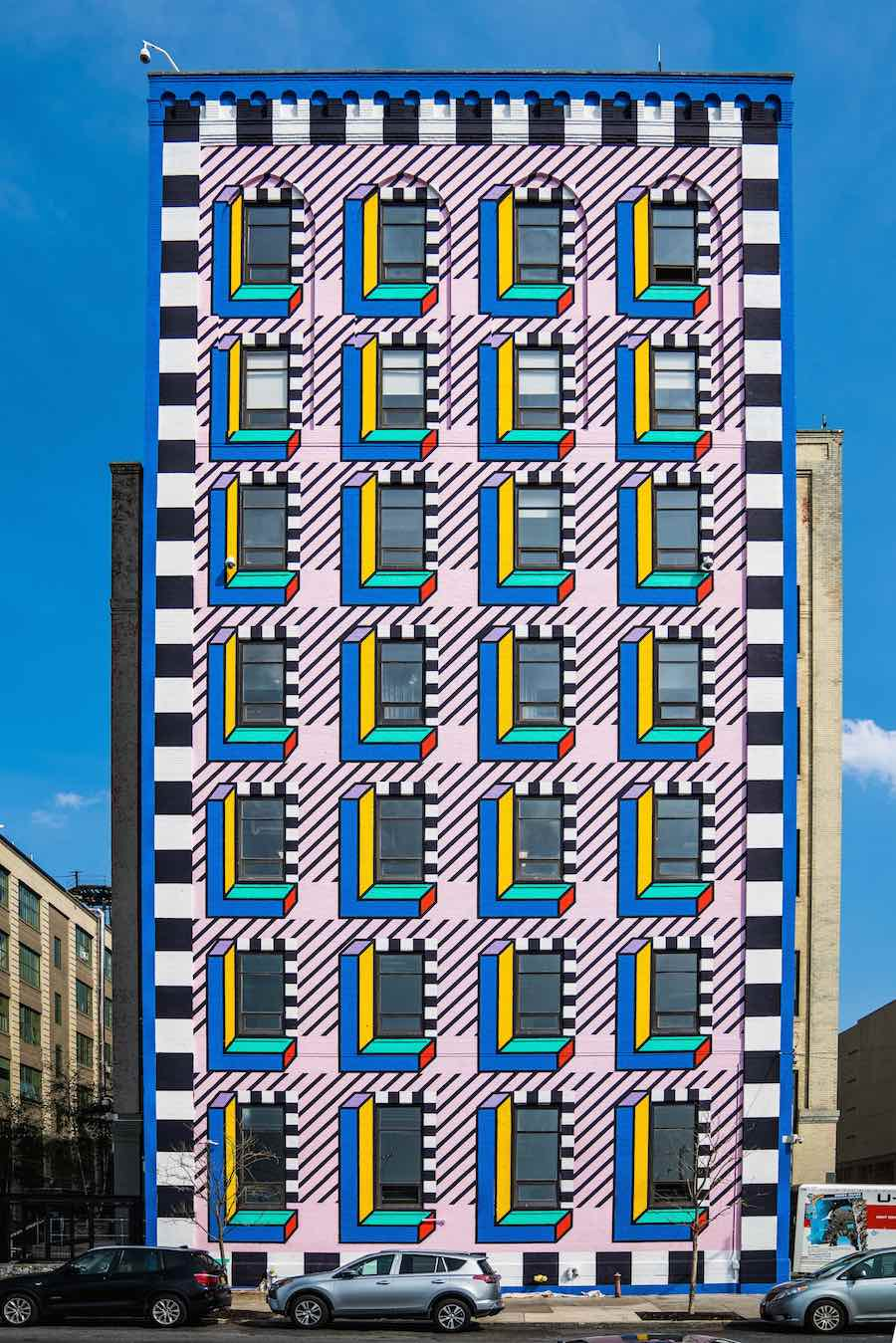 Memphis-inspired mural by Camille Walala for WantedDesign - Photo: courtesy of Industry City.