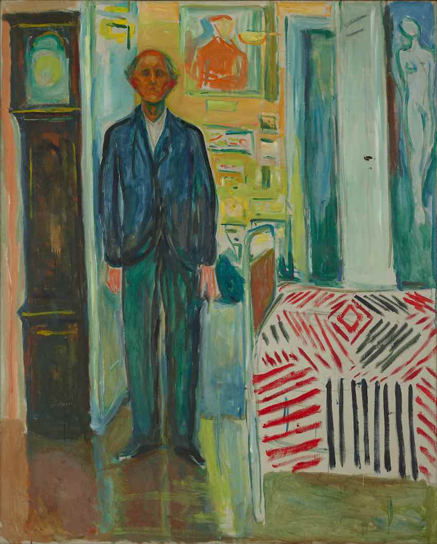 "Edvard Munch's self-portrait ""Between the Clock and the Bed"". Courtesy of Munch Museum."