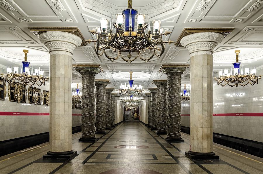 St Petersburg Metro, Avtovo station - Photo by Alex 'Florstein' Fedorov, CC.