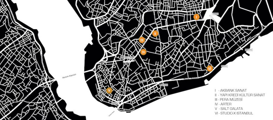 Map of Istanbul Design Biennial 2018 - courtesy of Istanbul Design Biennial 2018.