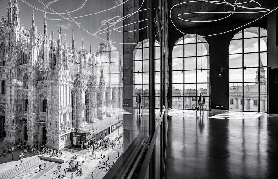 Architectural Photography Awards 2018 - SoP - The Piazza Duomo from the Arengario Balconi of the Palazzo dell'Arengario Museo del 900 in Milan Italy by Italo Rota and Fabio Fornasari. © Marco Tagliarino