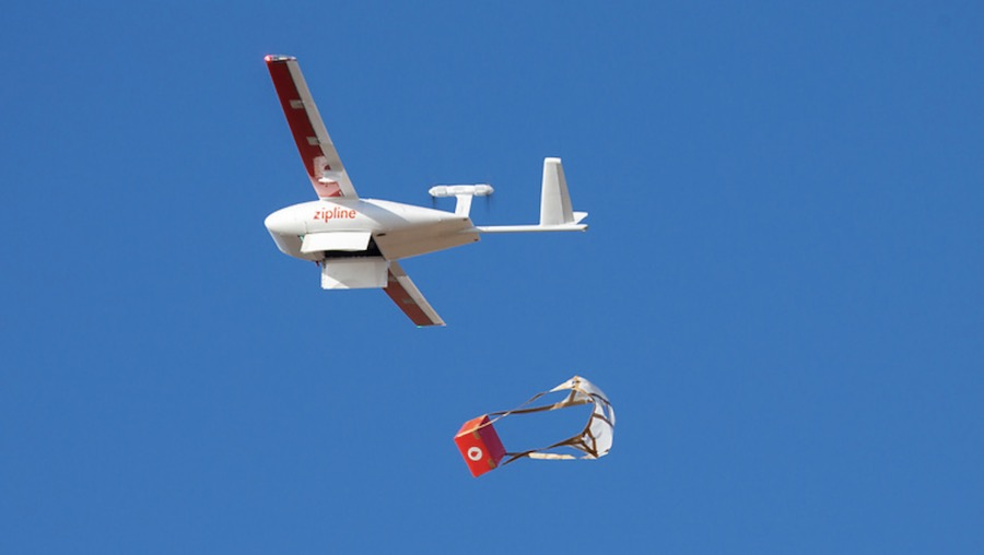 Zipline Autonomous Drone Delivery System - Courtesy of Zipline.