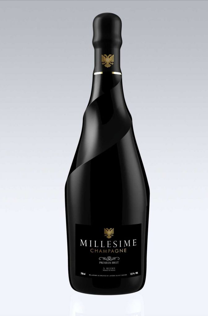 Jerome Olivet's design for Millesime champagne - Photo by Lanceval.