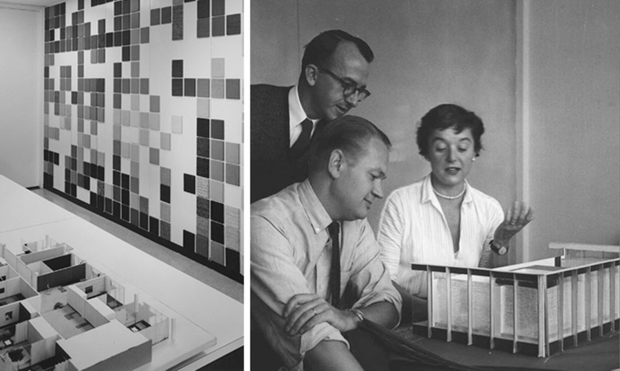 Left: a textiles swatch wall that would become standard in the industry. Right: Ms. Knoll Bassett reviews a Planning Unit model - Photo by Knoll.