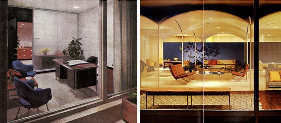 Left: qn executive office in the First National Bank, 1957. RIGHT: the Los Angeles Knoll Showroom, 1960 - Photo by Knoll.