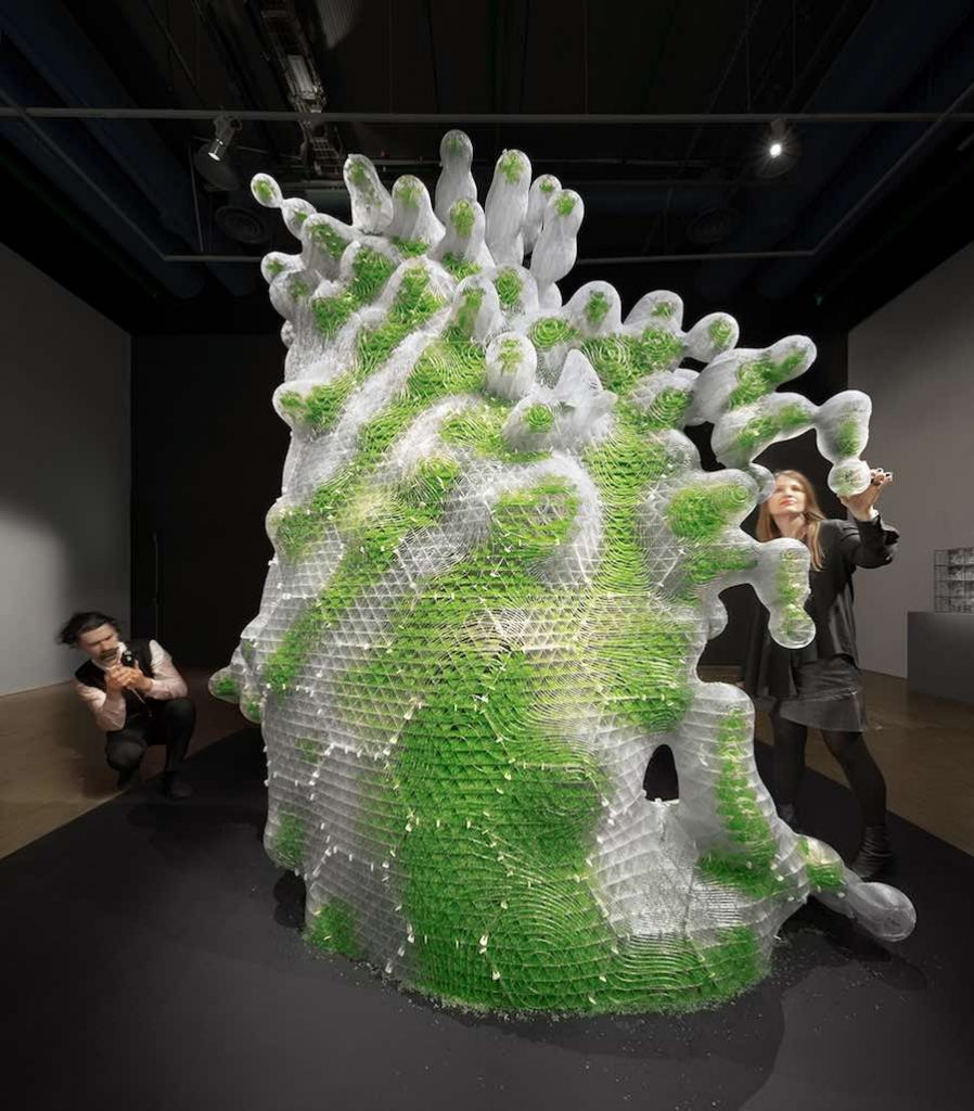 ecoLogicStudio's bio-digital sculptures at Centre Pompidou - H.O.R.T.U.S. XL Astaxanthin.g by ecoLogicStudio - Photo ©NAARO.
