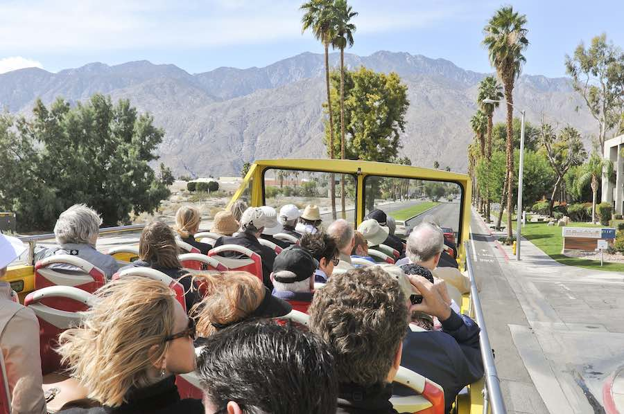 Bus Tour looking forward - Photo by David A Lee; courtesy of Modernism Week.