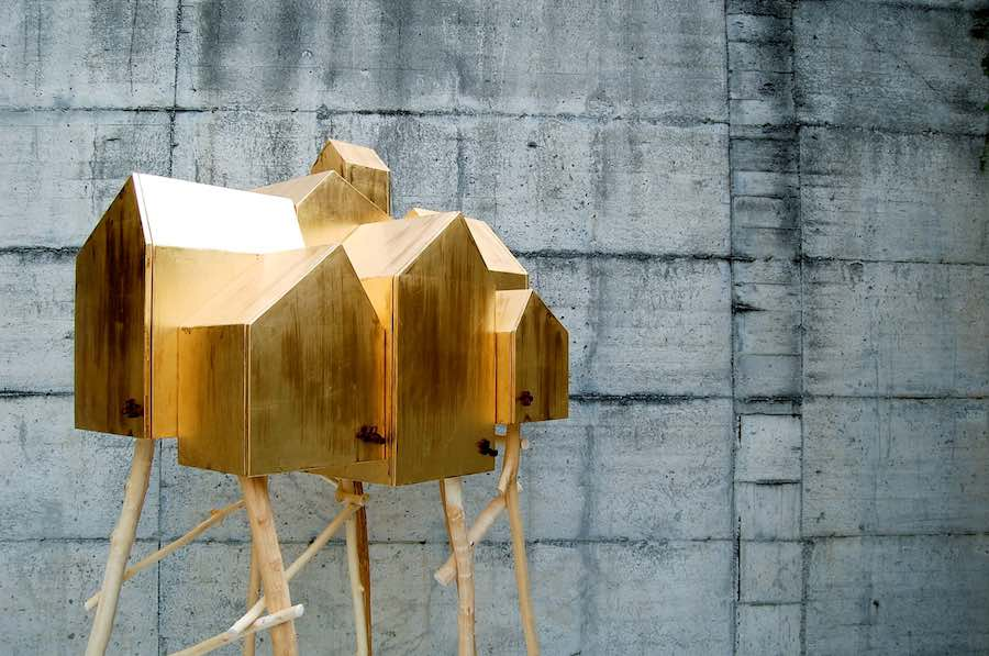 COLLECT 2019. Umberto Dattola's 'Invisible Cities' Cabinet made of plywood, natural wood, gold leaf - courtesy of Collect