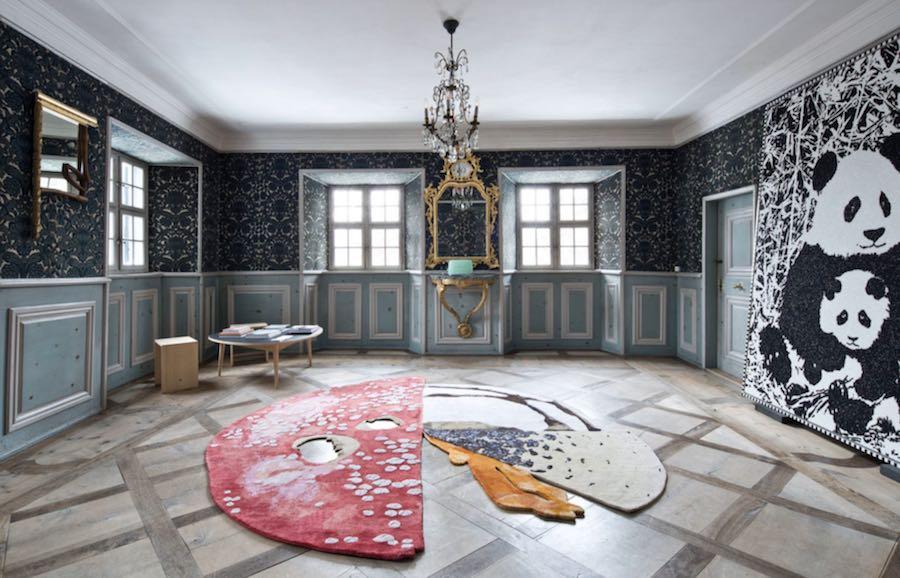 Carsten Holler's 'mushroom carpet' for Massimo de Carlo' @ Nomad St Moritz 2019.