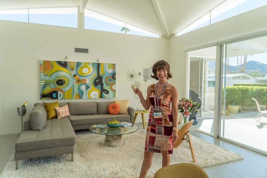 Retro attire in home tour - Photo by John Orlin; courtesy of Modernism Week.