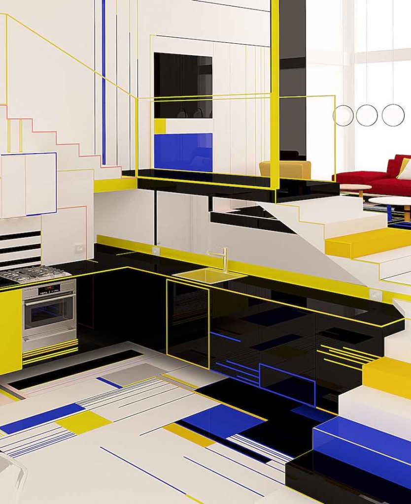 Breakfast with Mondrian concept-apartment by Brani & Desi - Photo: courtesy of Brani & Desi.