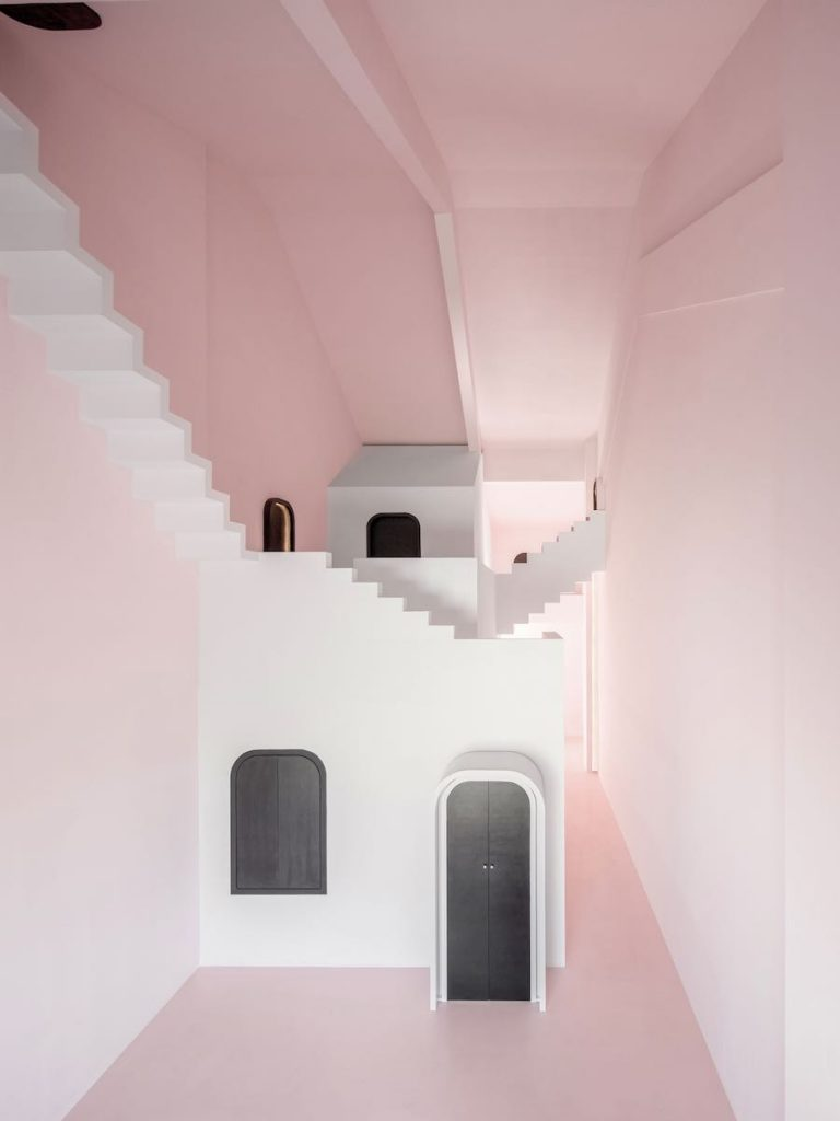 MC Escher-inspired spaces in Dream &Maze guest room by Studio 10 - Photo by Chao Zhang.