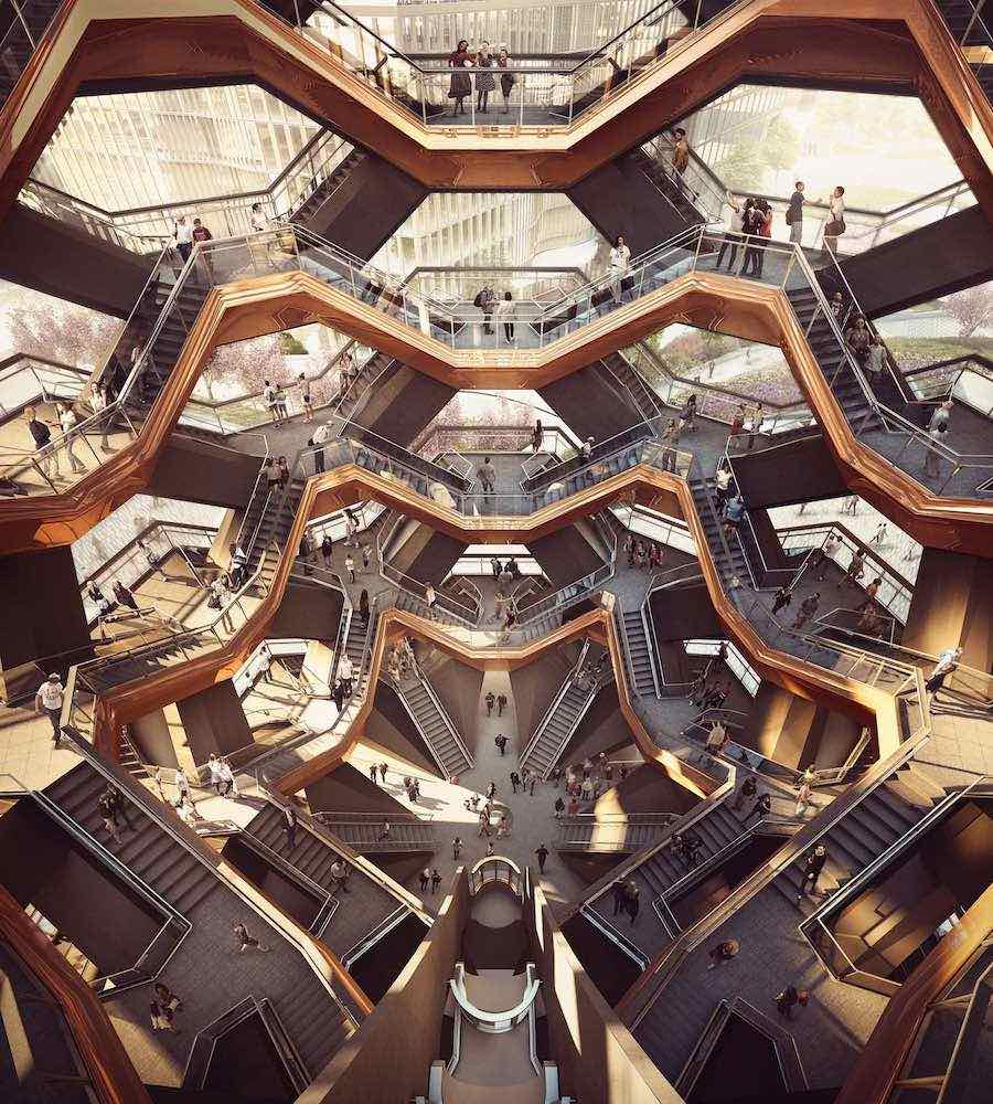 NYC Hudson Yards. Vessel Interior by Thomas Heaterwick Studio - Photo by Forbes Massie.