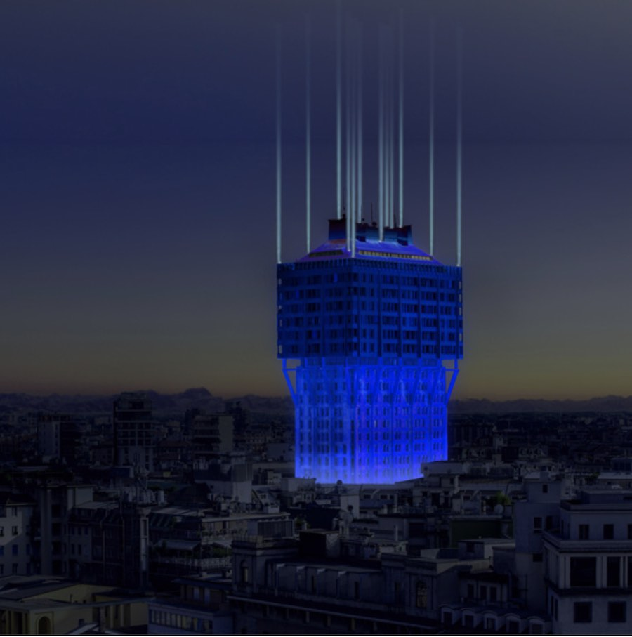 """Nel Blu Dipinto di Blu ""lighting installation for Torre Velasca - Image: courtesy of Ingo Maurer."