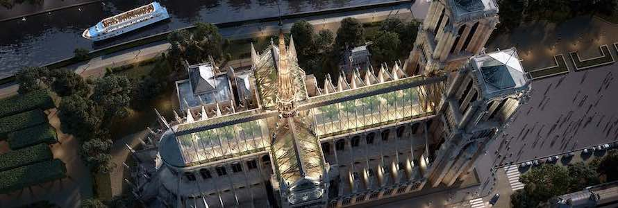 Miysys' glass roof and spire for Notre-Dame de Paris