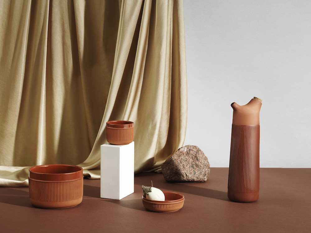 Normann Copenhagen's new ceramic tableware. Junto terracotta group - Photo by Normann Copenhagen.