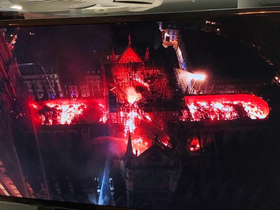 Notre-Dame on fire from a police drone - photo by Grant Ciccone @FrGrantCiccone via manhai, CCby2.0.