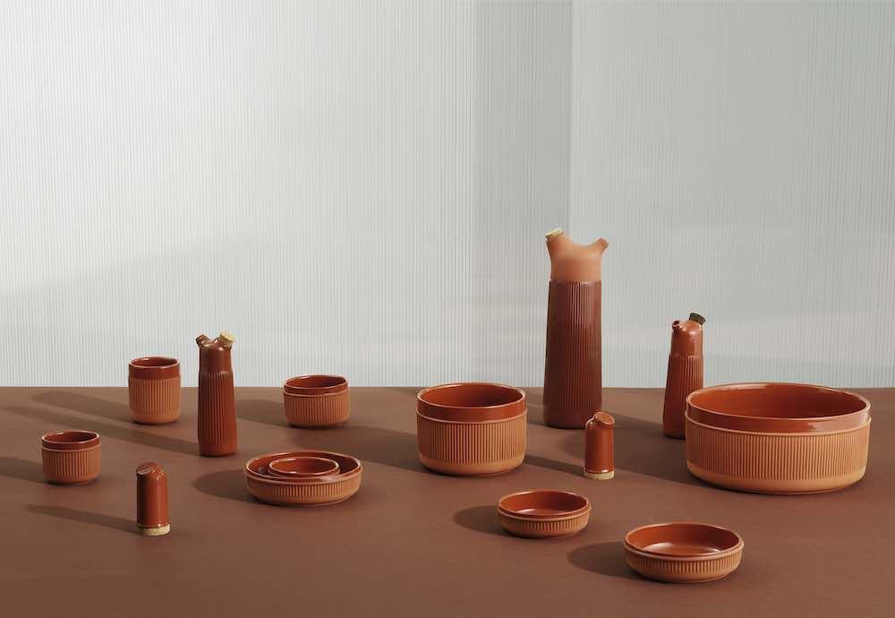 Normann Copenhagen's new ceramic tableware. Junto terracotta group - Photo by Normann Copenhagen.