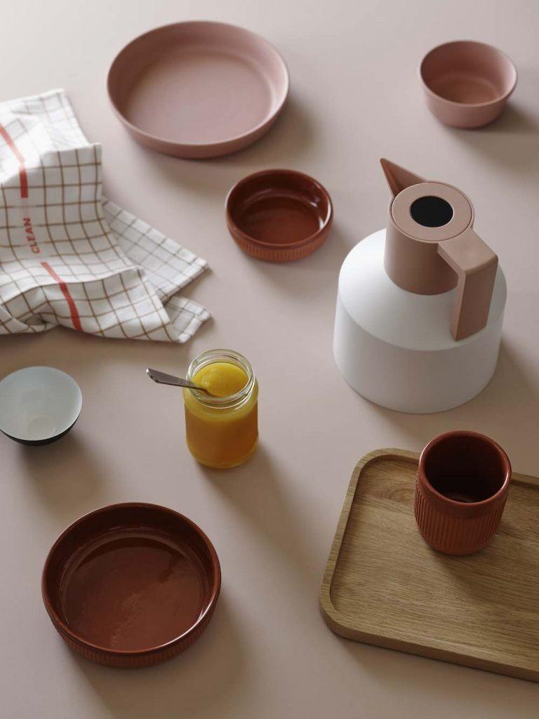 Normann Copenhagen ceramic tableware - Junto_dishes, Obi dish and bowl and Geo jug - Photo by Normann Copenhagen.
