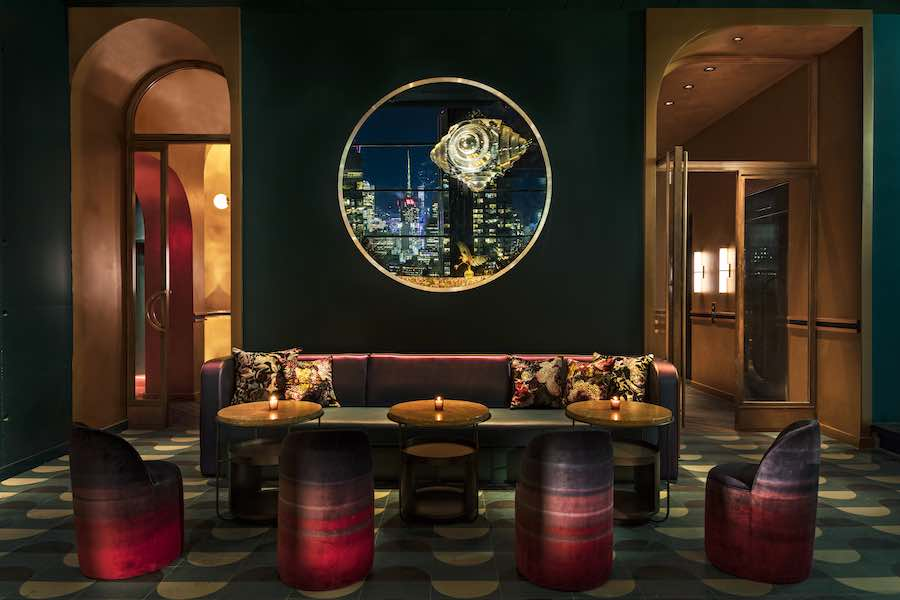 Rockwell Group's interior design for The Fleur Room @ Moxi Times Square, NYC - Photo by Micheal Kleinberg, courtesy of Rockwell Group.
