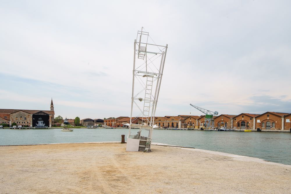 Ludovica Carbotta has created a redundant upside-down tower for her imaginary city Monowe which is inhabited by a single person. Photo by Andrea Avezzù, courtesy of La Biennale di Venezia.
