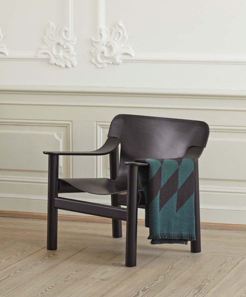 Hay - Bernard chair with Star dark green blanket.
