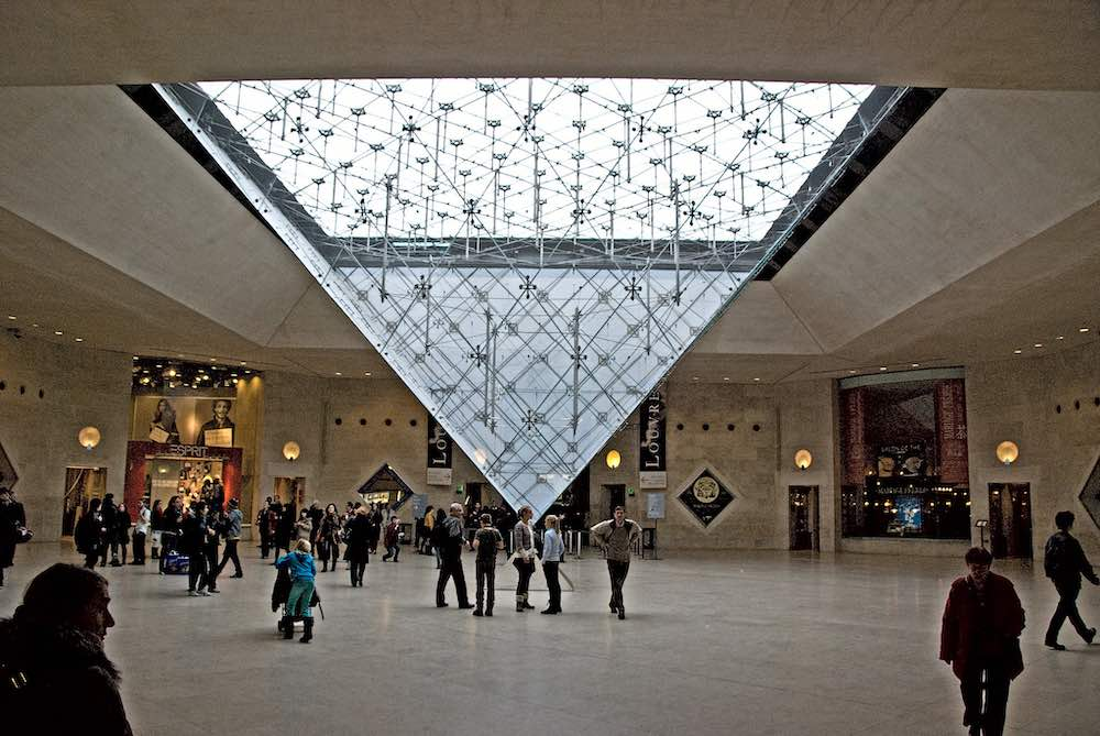 I.M. Pei's Louvre Pyramid from below, Paris - Photo by John Weiss