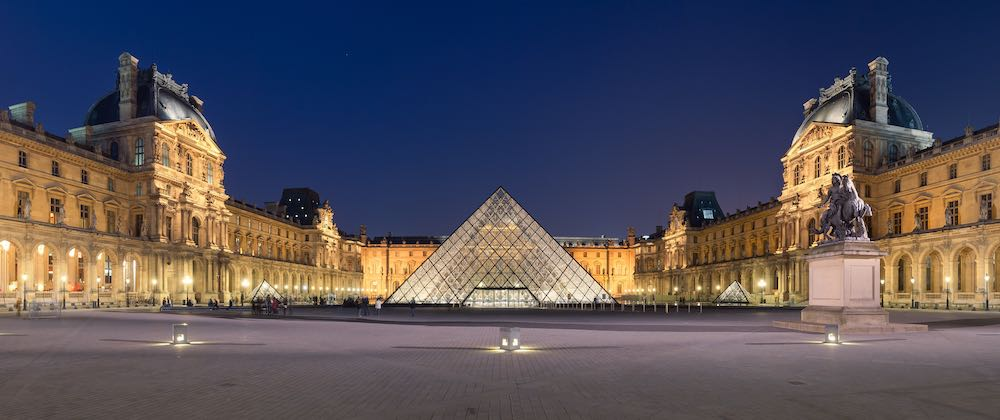Louvre Pyramid by I M Pei  in Napoleon courtyard, Paris.
