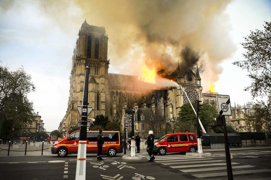 Notre-Dame on fire - Photo by Pierre Suu-Getty Images via manhai CCby2.0.