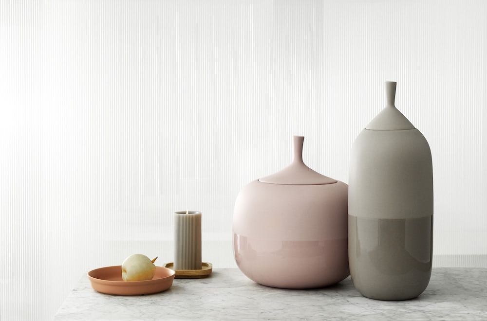 Normann Copenhagen's new ceramic tableware. Pepo jars - Photo by Normann Copenhagen.