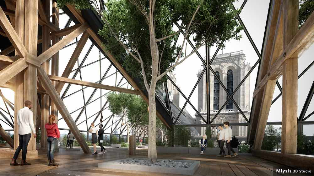 Notre-Dame de Paris new roof and spire envisioned by Miysis studio - Image by Miysis studio.Notre-Dame de Paris new roof and spire envisioned by Miysis studio - Image by Miysis studio.