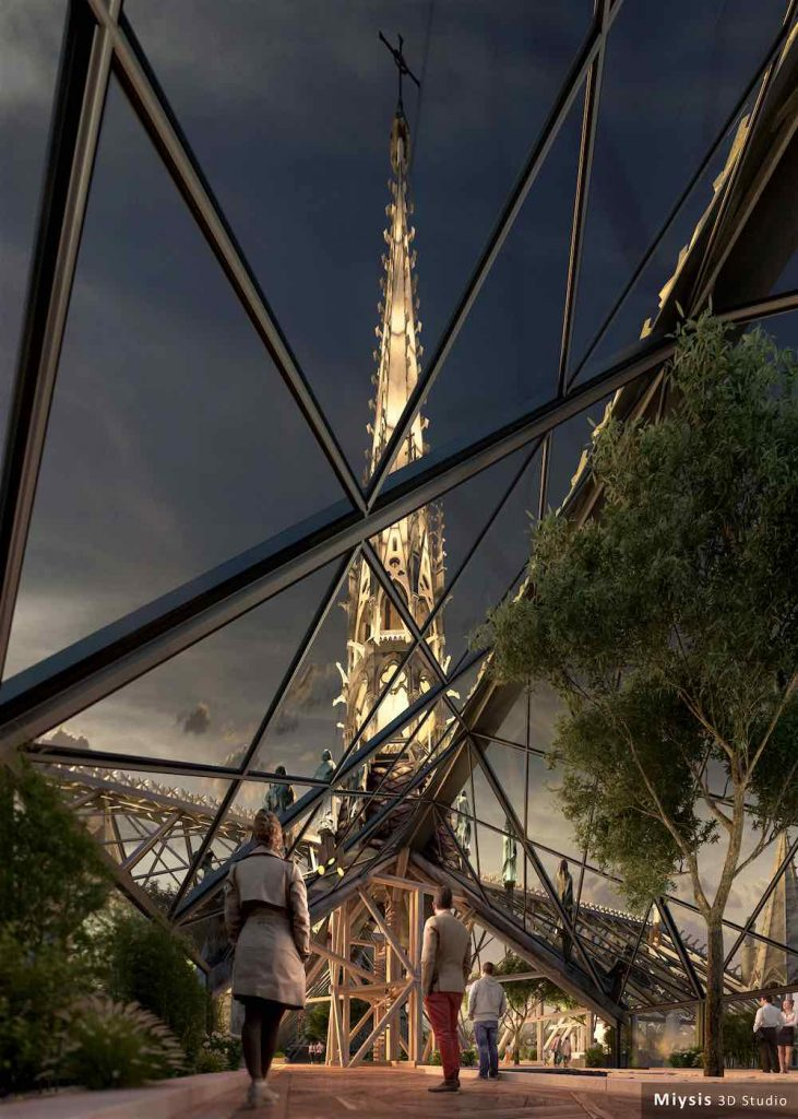 Notre-Dame de Paris new roof and spire envisioned by Miysis studio - Image by Miysis studio.