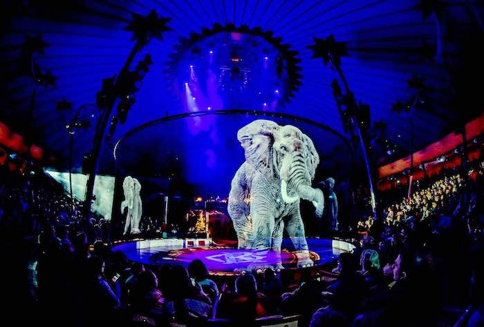Holograms parade at the circus