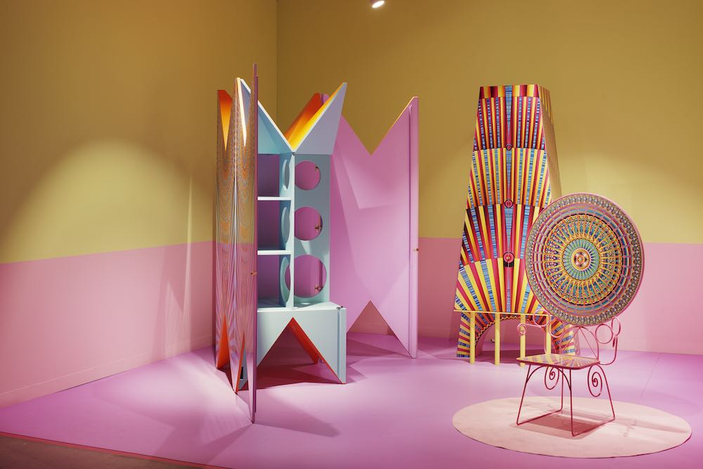 DesignMiami/ Basel 2019. Camp Design Gallery presents THREE CHARACTERS IN THE SECOND ACT-ROYAL FAMILY by Adam Nathaniel Furman - Photo by James Harris, courtesy of DesignMiami Basel 2019