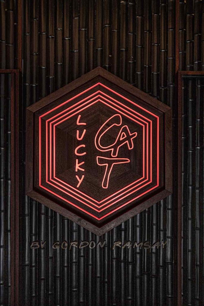 Neon Sign of Gordon Ramsay's LUCKY CAT restaurant by AfroditiKrassa in Mayfair, Lodnon - Photo by AfroditiKrassa Design Studio.