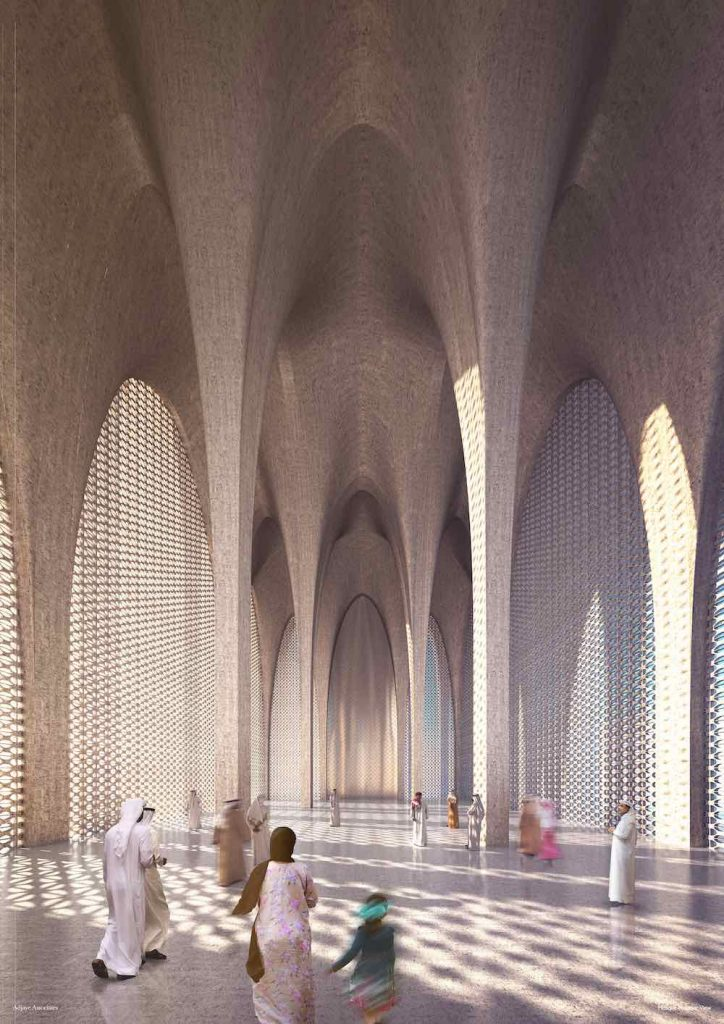 The Abrahamic Family House. The Mosque interior - Courtesy of Adjaye Associates
