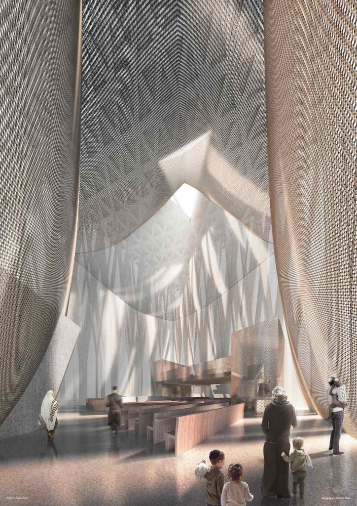 The Abrahamic Family House. The Synaguogue interior - Courtesy of Adjaye Associates
